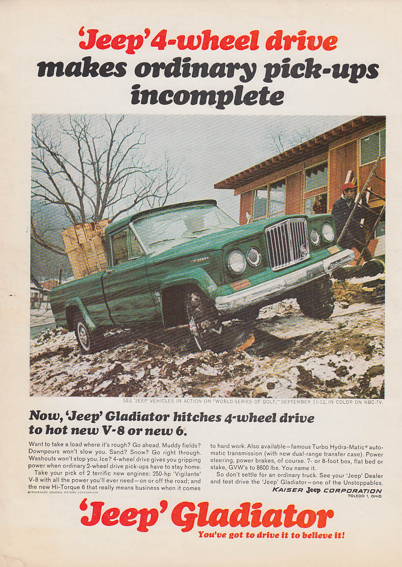 Image for Makes ordinary pickups incomplete Jeep Gladiator 4WD ad 1966 NB