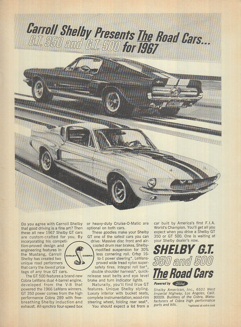 Image for The Road Cars for 1967: Shelby GT 350 & 500 ad 1967 R&T
