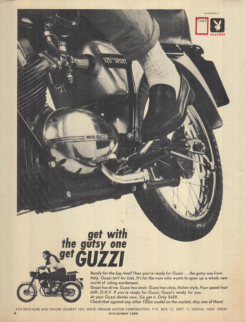 Image for Get with the gutsy one - get Moto Guzzi 125cc Sport motorcycle ad 1966