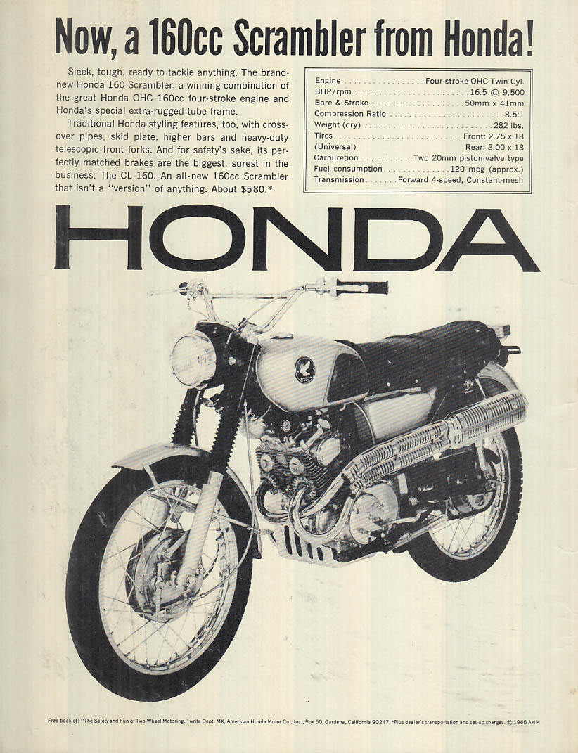 Image for Now a 150cc Scrambler from Honda! Motorcycle ad 1966