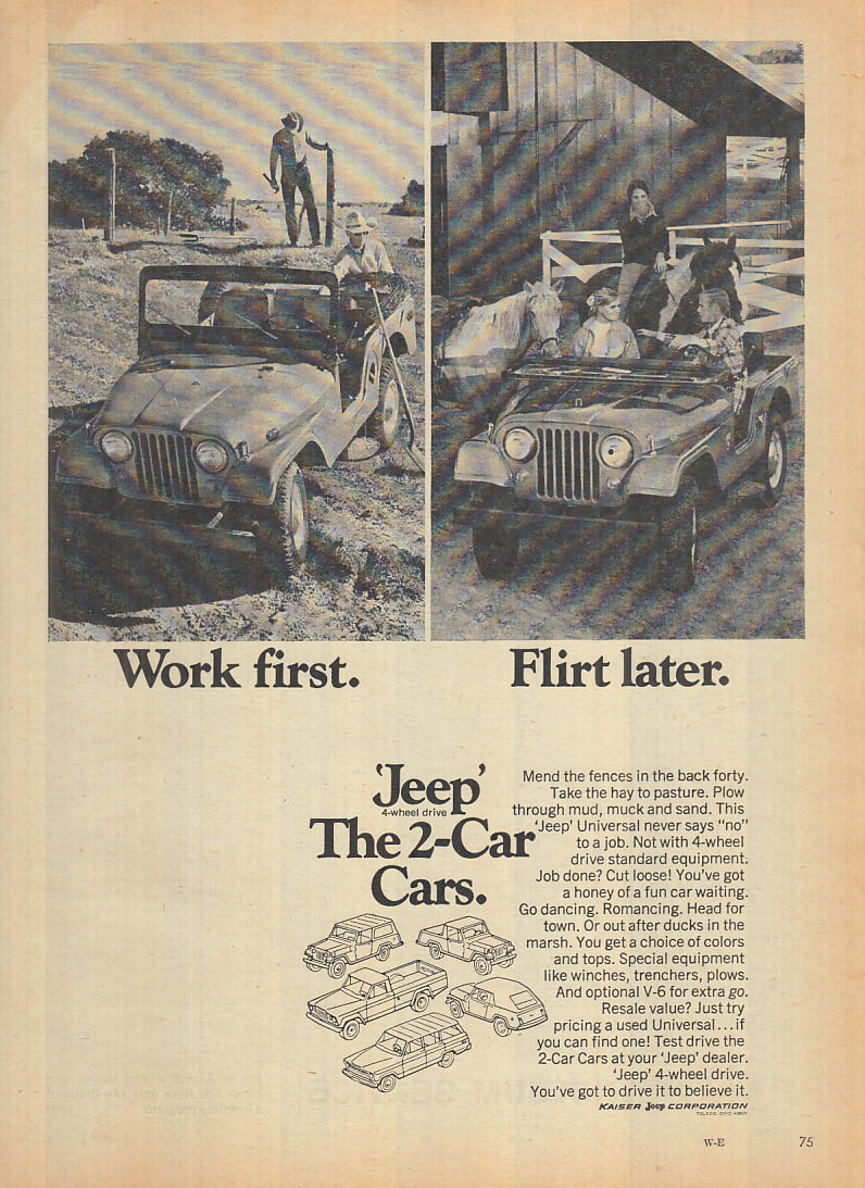 Image for Work first - Flirt later - Jeep Universal ad 1969 FL