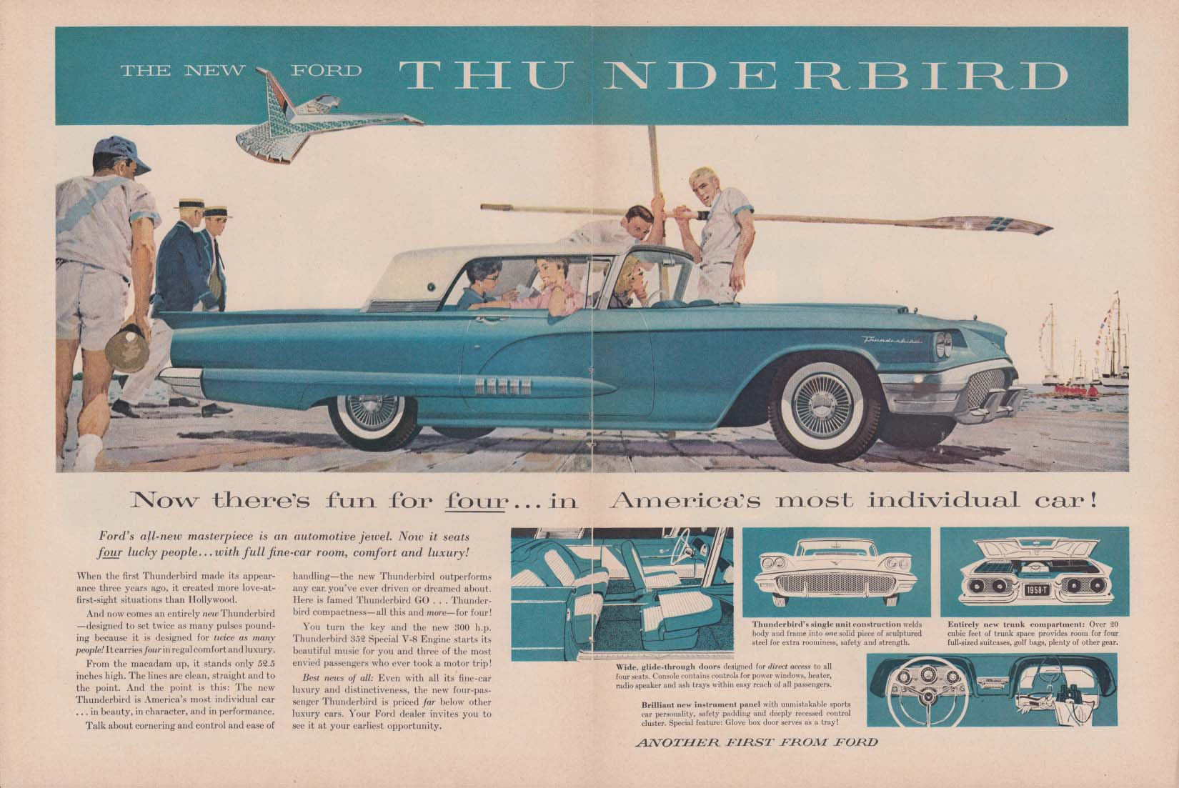 Image for Now fun for four America's most individual car Ford Thunderbird ad 1958 T