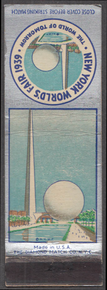 Image for Trylon & Perisphere New York World's Fair matchcover 1939 Theme Center