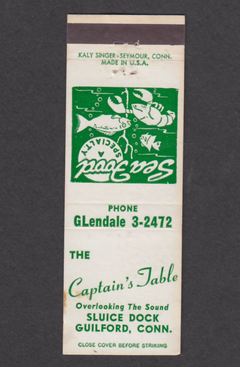 Image for The Captain's Table Sluice Dock Guilford CT matchcover