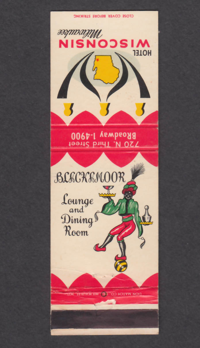 Image for Blackmoor Lounge & Dining Room Hotel Wisconsin Milwaukee matchcover