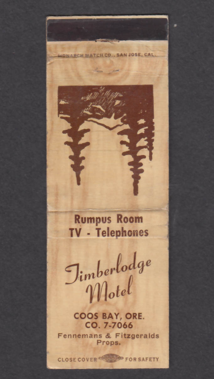 Image for Timberlodge Motel Coos Bay OR matchcover