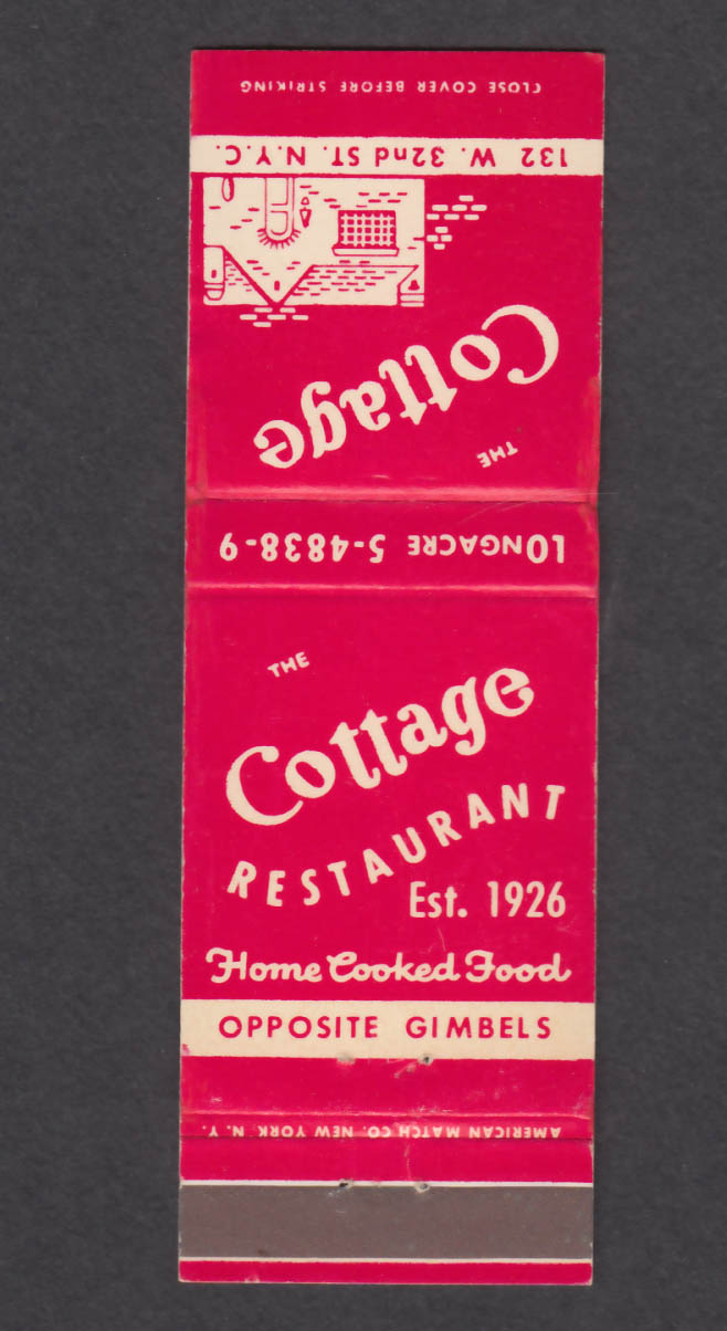 Image for Cottage Restaurant 132 W 32nd St New York NY matchcover