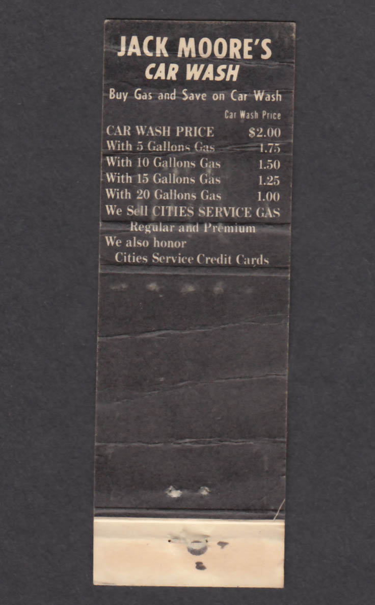 Image for Jack Moore's Car Wash Wyllys & Union St Hartford CT matchcover