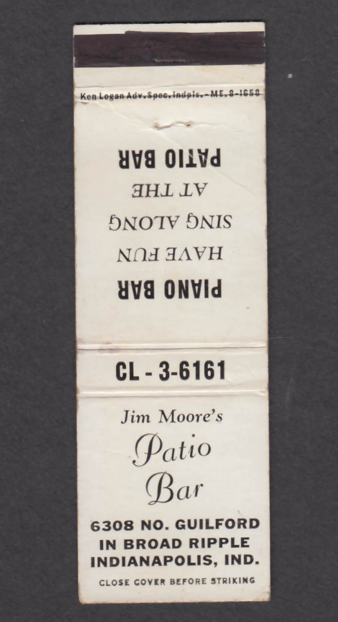 Image for Jim Moore's Patio Bar 6308 No Guilford Indianapolis IN matchcover