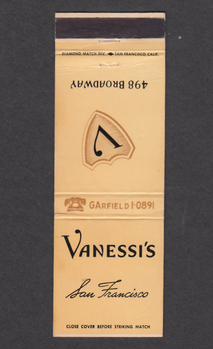 Image for Vanessi's 498 Broadway San Francisco CA matchcover