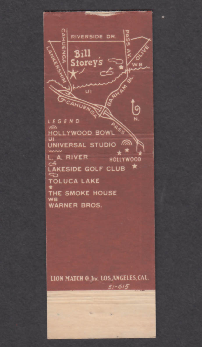 Image for Bill Storey's 4100 Cahuenga Blvd North Hollywood CA matchcover