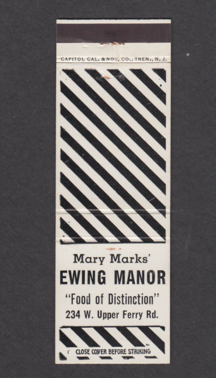 Image for Mark Marks' Ewing Manor 234 W Upper Ferry Rd Trenton NJ matchcover