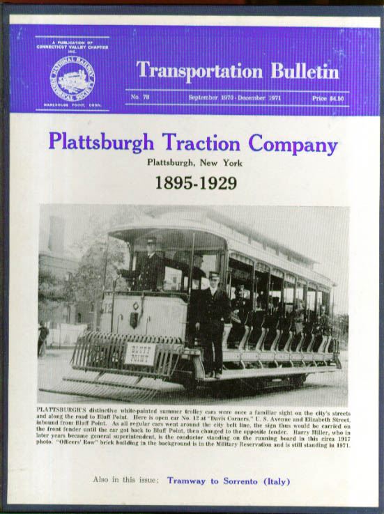 Image for Plattsburgh Traction 1895-1929 TRANSPORTATION BULLETIN #78