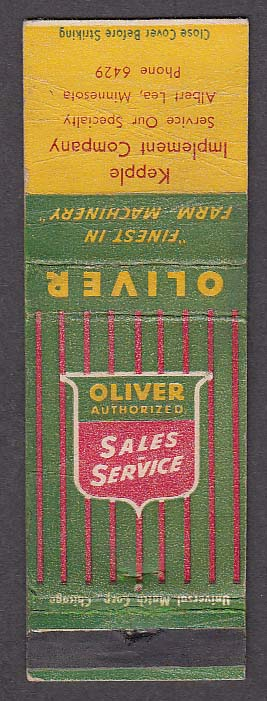 Image for Oliver Sales & Service Kepple Implement Company Albert Lea MN matchcover
