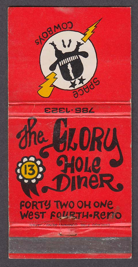 Image for The Glory Hole Diner 4201 West 4th Reno NV matchcover Space Cowboys