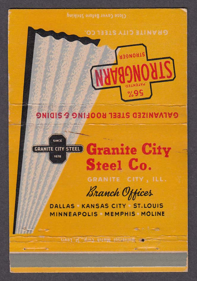Image for Granite City Steel Co Granite City IL Strongbarn matchcover