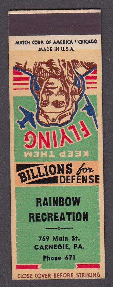 Image for Rainbow Recreation 769 Main St Carnegie PA Defense Bonds matchcover proof