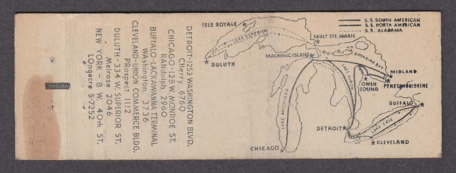 Image for Georgian Bay Line SS North American SS South American SS Alabama matchcover