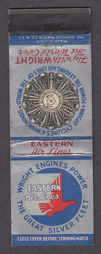 Image for Wright Engines Power Eastern Air Lines Great Silver Fleet matchcover