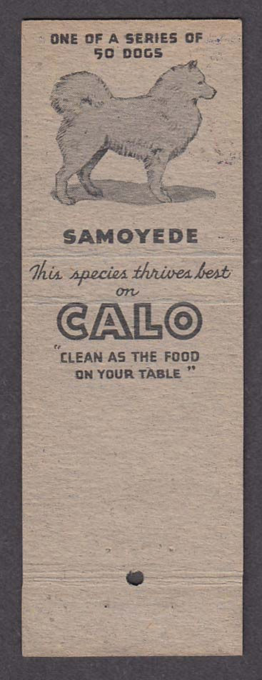 Image for Calo Dog Food advertising matchcover Samoyede