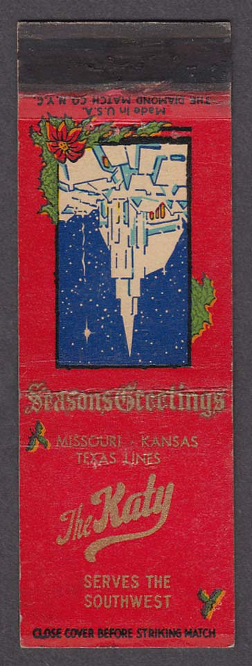 Image for Season's Greetings Missouri-Kansas Texas Lines The Katy matchcover