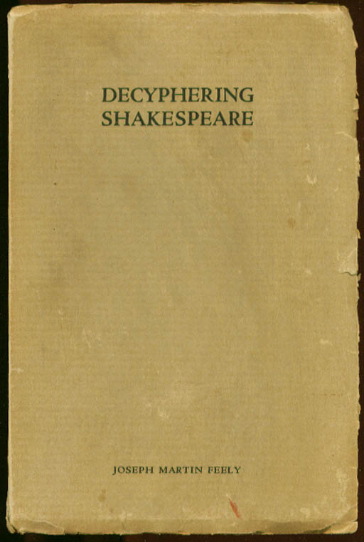 Image for Decyphering Shakespeare Joseph Martin Feely SIGNED 1934