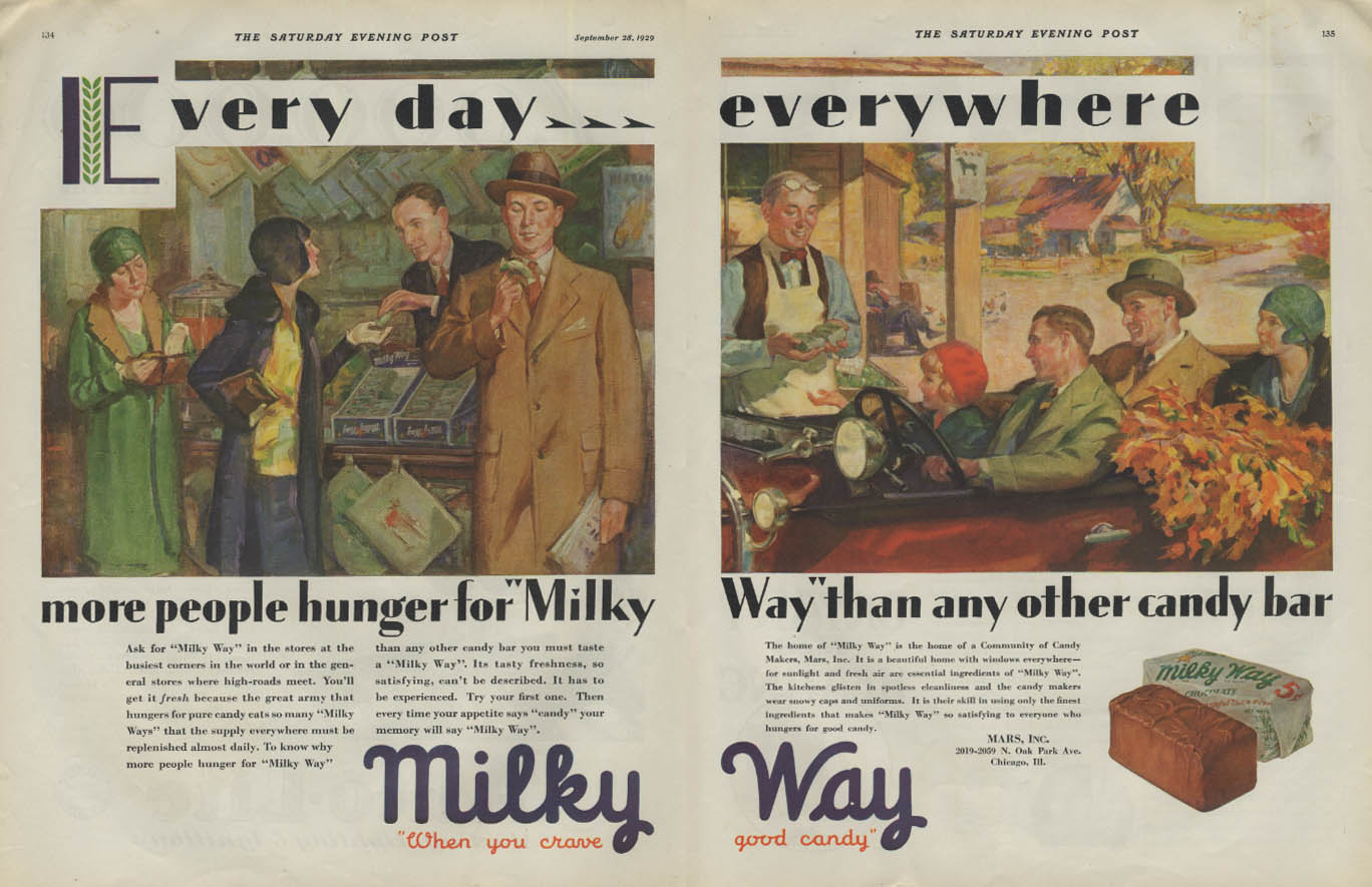 Image for Every day everywhere more people hunger for Milky Way Candy Bar ad 1929 P