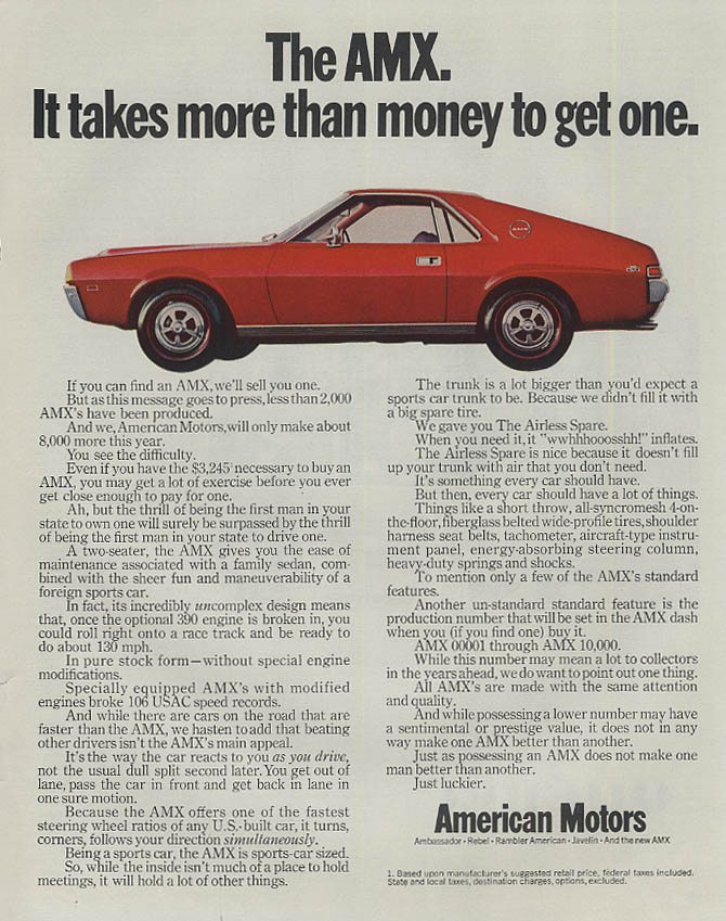 Image for It takes more than money to get one American Motors AMX ad 1968 SEP