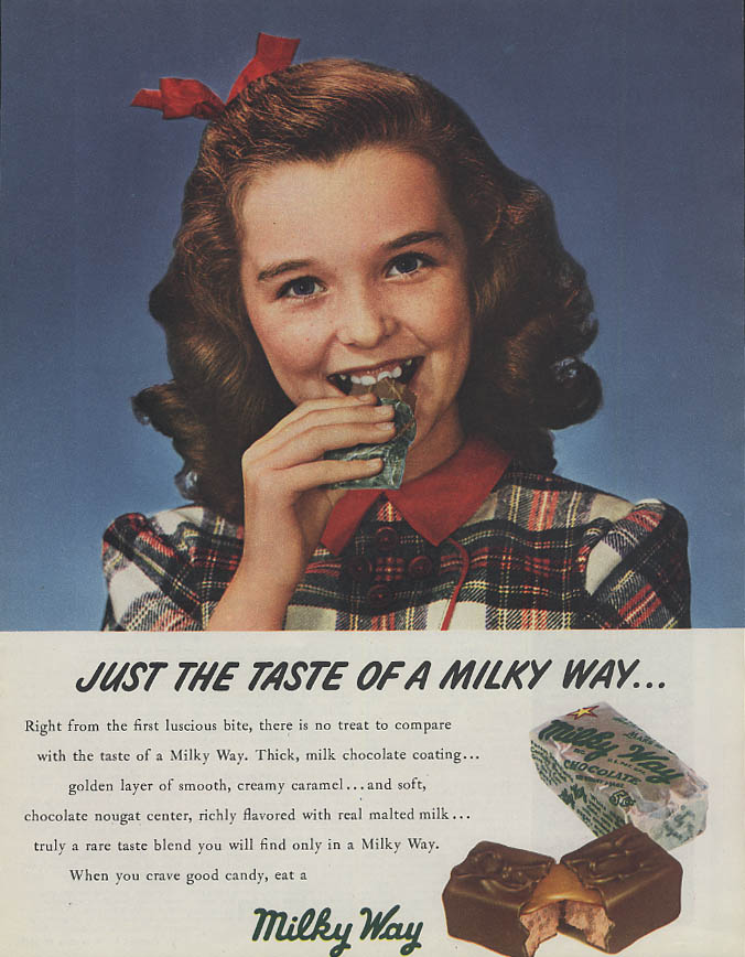 Image for Just the taste of a Milky Way Candy Bar ad 1947 girl hair-ribbon Collier's