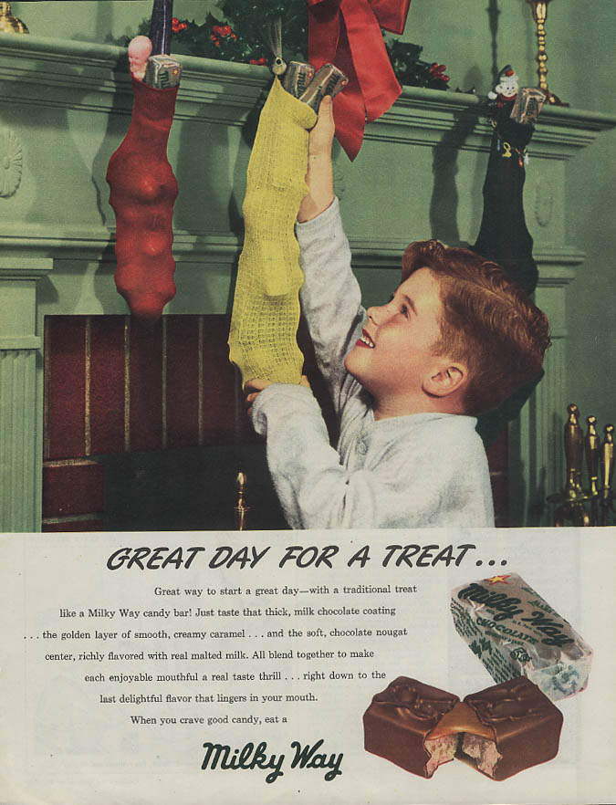 Image for Great Day for a Treat! Milky Way Candy Bar ad 1947 kid stuffs Christmas stocking