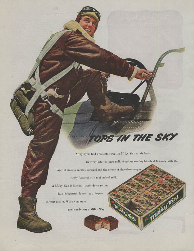 Image for Tops in the Sky Milky Way Candy Bar ad 1944 fighter pilot gets in cockpit