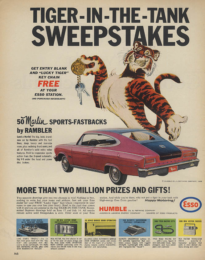 Image for Esso Tiger-in-the-Tank Sweepstakes AMC Marlin ad 1965 Lk
