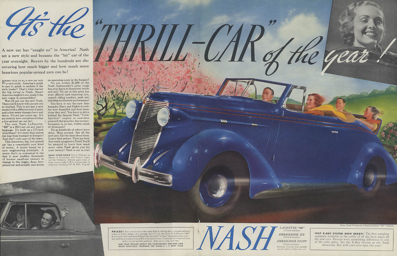 Image for The Thrill Car of the Year! Nash Lafayette 400 Convertible Cabriolet ad 1937