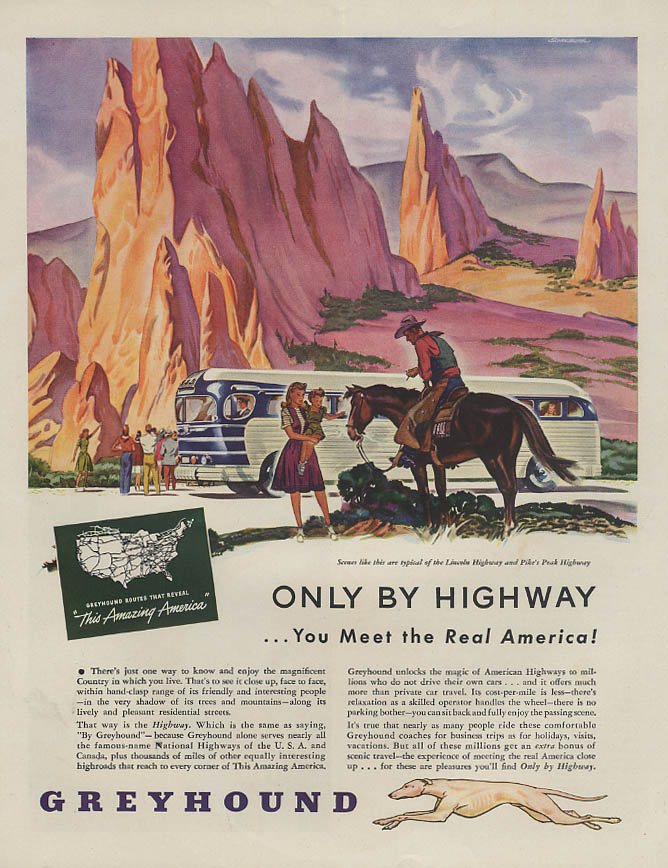 Image for Only by Highway You Meet the Real America Greyhound Bus ad 1946 H
