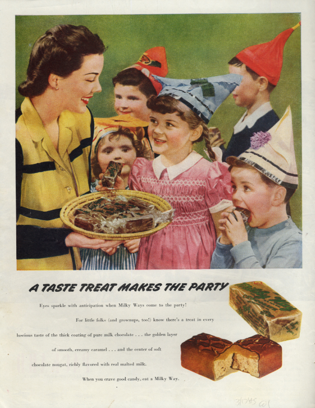 Image for Milk Way Candy bars make the kid's party / Packard thru the Blitz ad 1945 Col