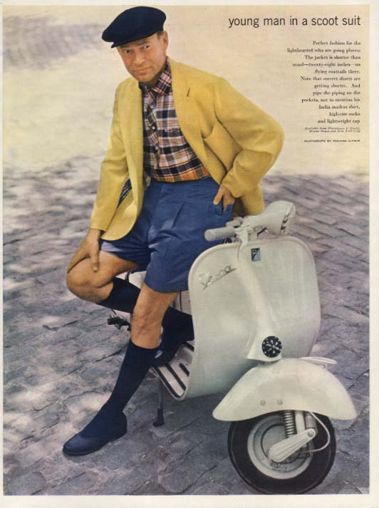 Image for Young man in a scoot suit Esquire fashion page 1957 Vespa Motorscooter