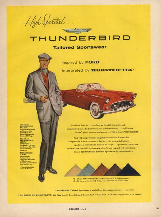 Image for High Spirited Ford Thunderbird for Worsted-Tex Sportswear ad 1956 ESQ