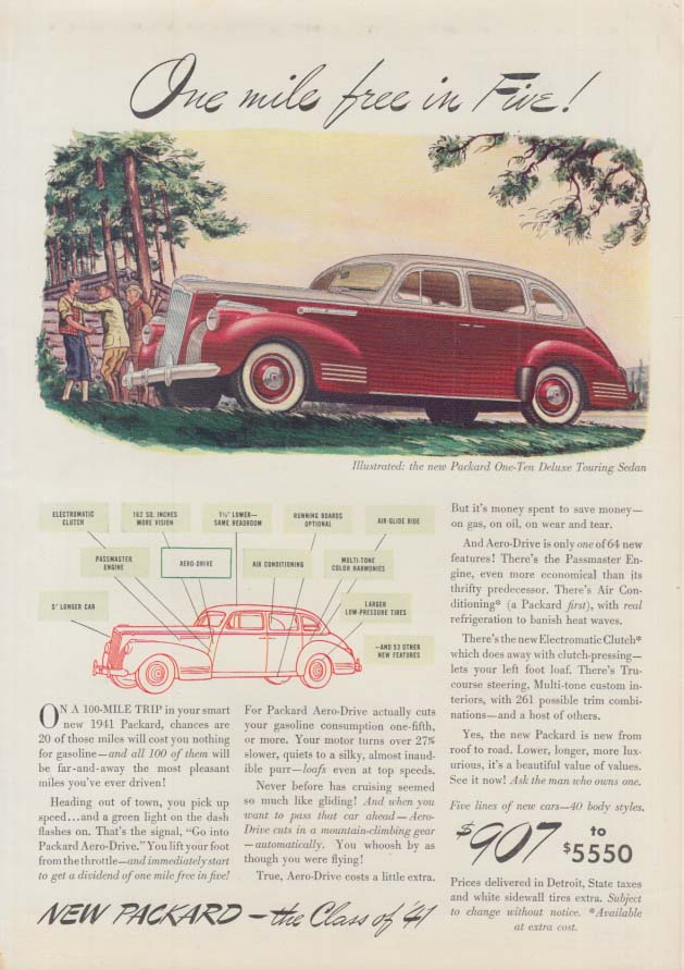 Image for One mile free in Five! Packard One-Ten Deluxe Touring Sedan ad 1941 T
