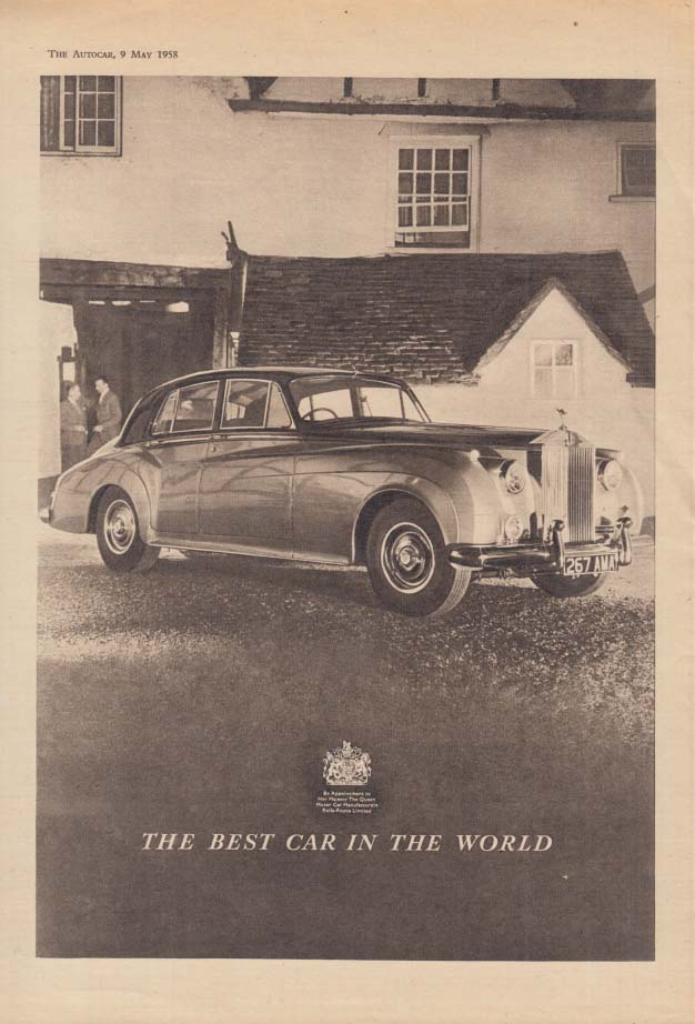 Image for The Best Car in the World: Rolls-Royce Sedan ad 1958 The Autocar