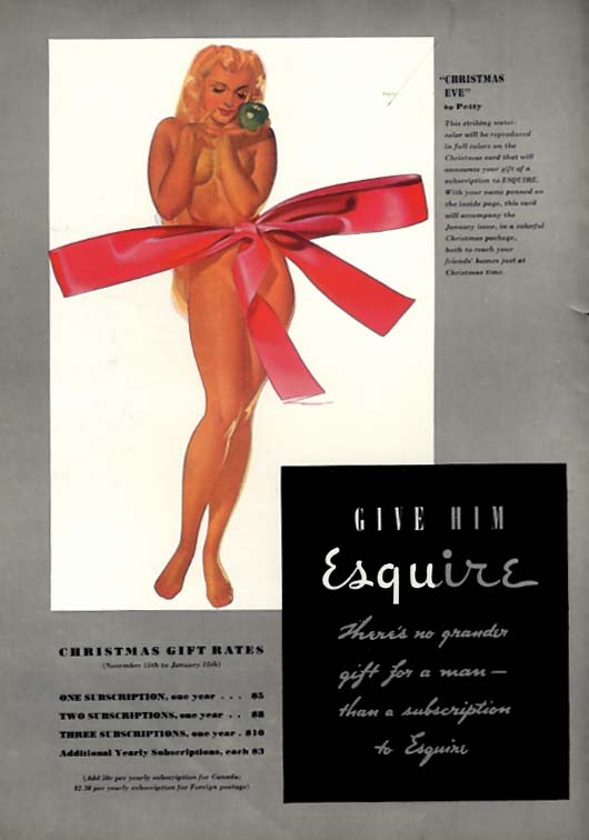 Image for George Petty Girl pin-up Christmas Eve! Give him Esquire ad 1938