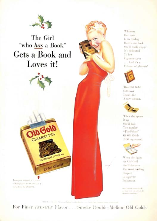 Image for George Petty Girl pin-up Girl gets a book & loves it Old Gold Cigarettes ad 1938
