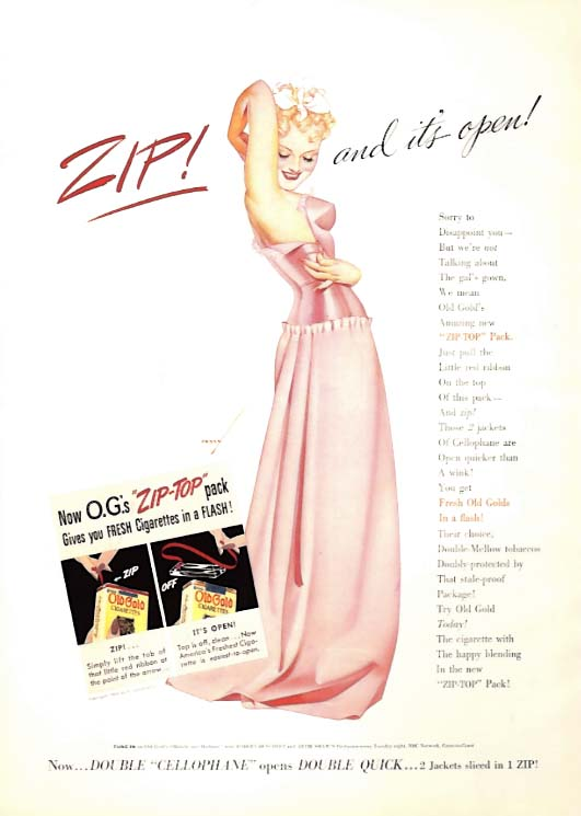 Image for George Petty Girl pin-up ZIP! And it's open! Old Gold Cigarettes ad 1939