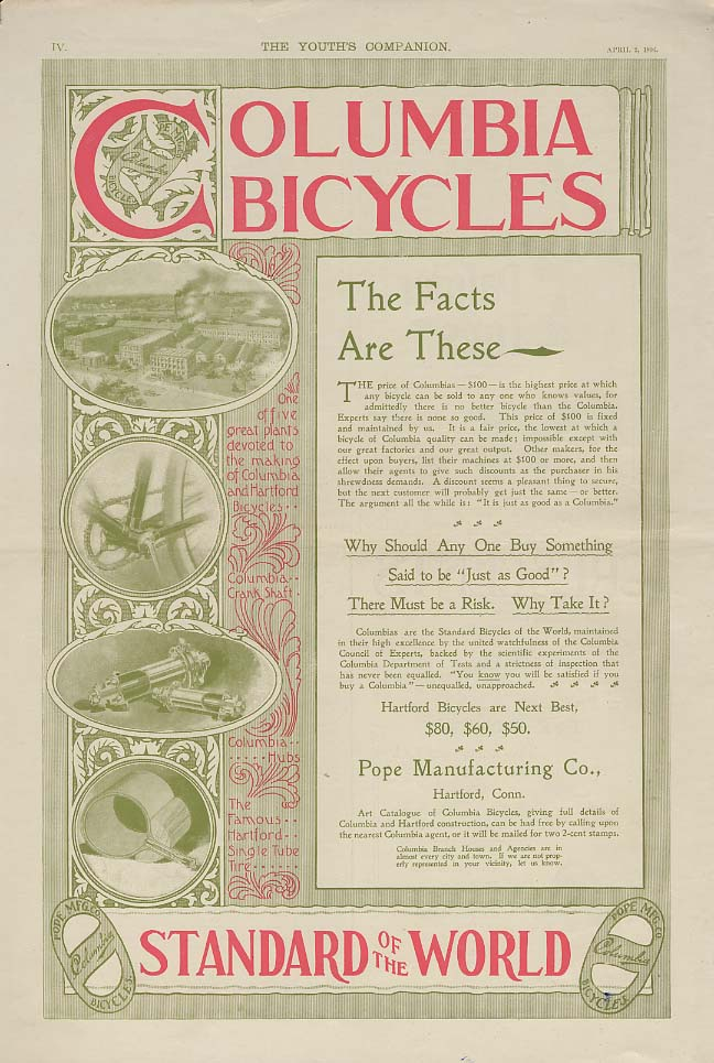 Image for The Facts Are These - Columbia Bicycles ad 1896