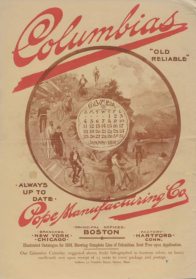Image for Always Up To Date - Columbia Bicycles by Pope Manufacturing ad 1891