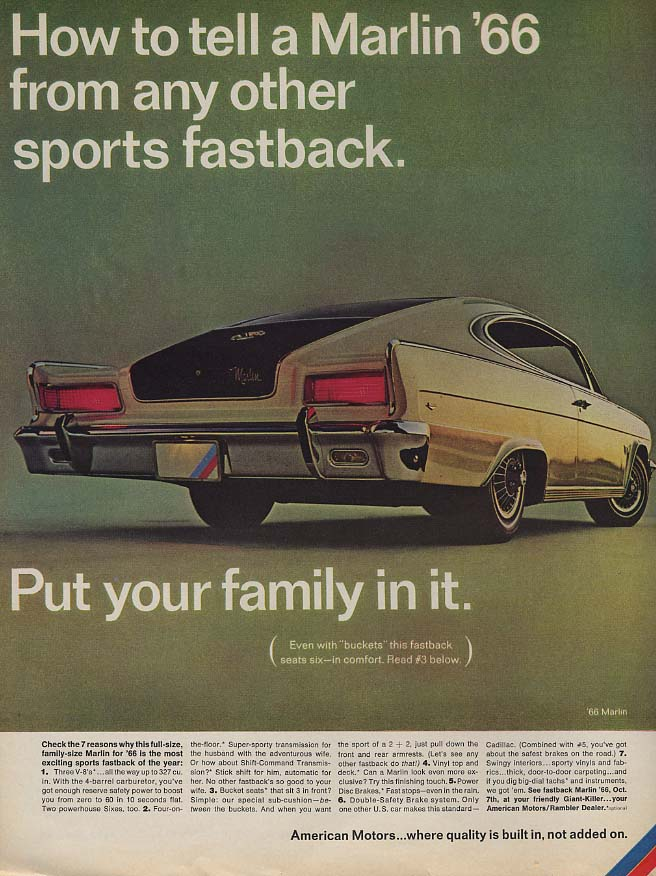 Image for How to tell an AMC Marlin from any other sports fastback ad 1966 L