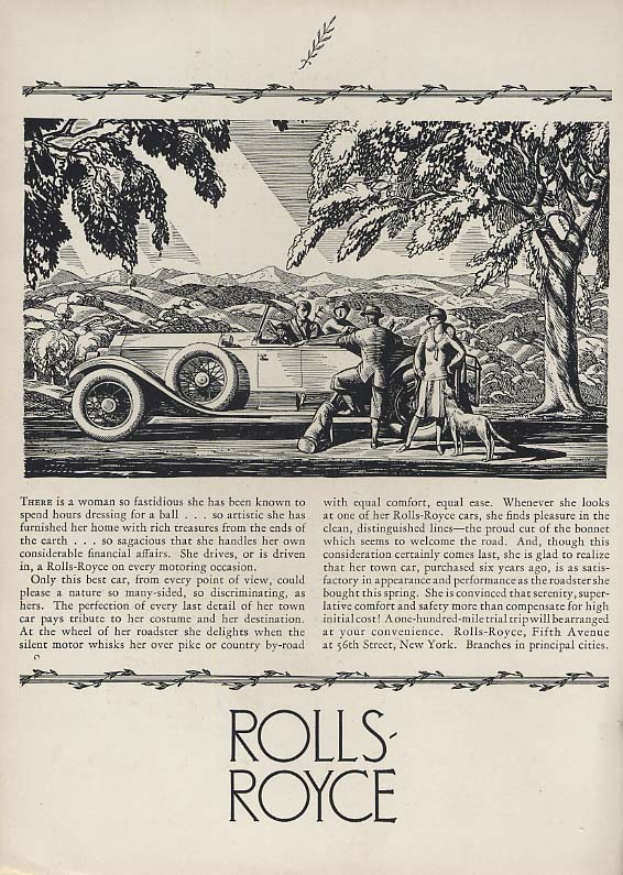 Image for There is a woman so fastidious - Rolls-Royce Roadster ad 1920s