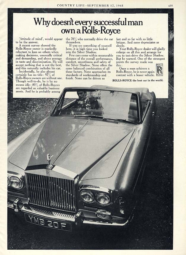 Image for Why doesnt every successful man own a Rolls-Royce Convertible ad 1968
