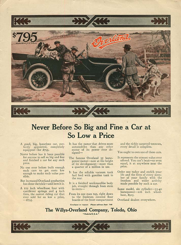 Image for Never Before So Big & Fine a Car Willys Overland ad 1916 hunting dogs