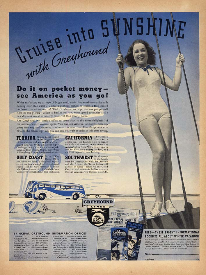 Image for Cruise into sunshine with Greyhound Bus ad 1937 girl in a swimsuit L