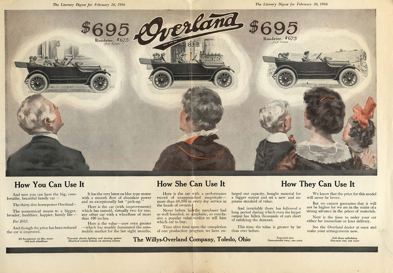 Image for How You / She / They can Use it Willys Overland Roadster & 83-B ad 1916